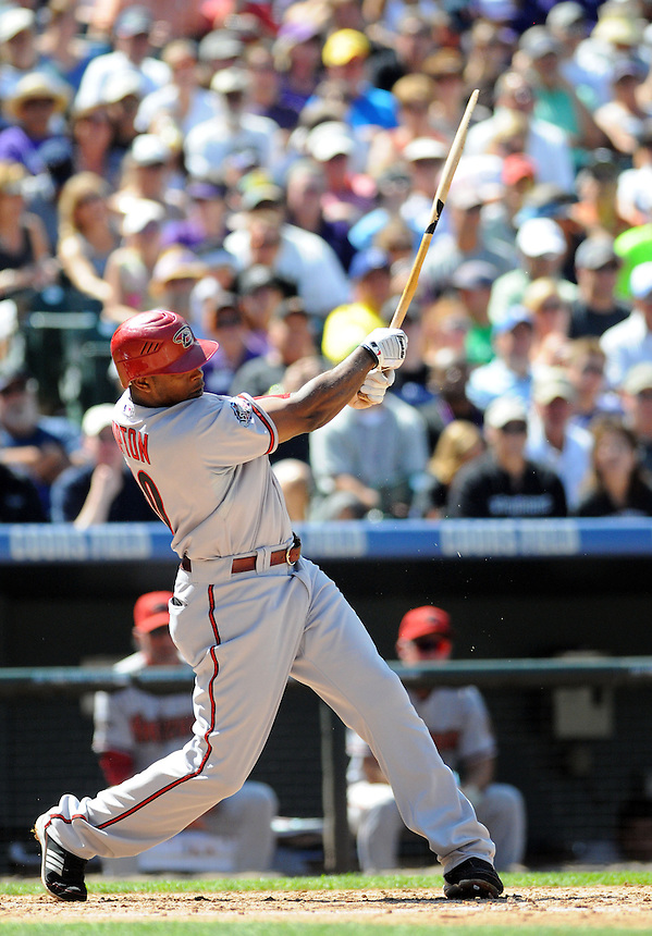 05 SEPTEMBER 2011: Diamondbacks right fielder Justin Upton (10) breaks his bat   during a regular season game between the Arizona Diamondbacks and and the Colorado Rockies at Coors Field in Denver, Colorado.  The Diamondbacks beat the Rockies 10-7.  *****For Editorial Use Only*****
