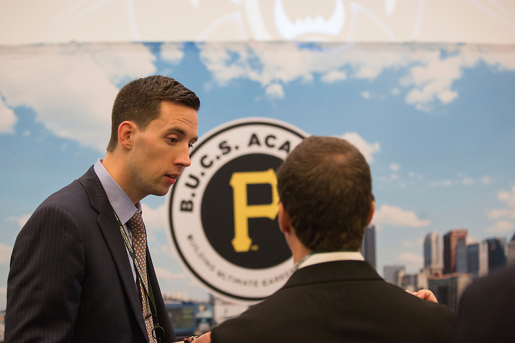 Alan Aldwell, the Manager of B.U.C.S. Academy with the Pittsburgh Pirates, talks with College of Business students at the Career Fair in Baker Ballroom on October 13, 2016.