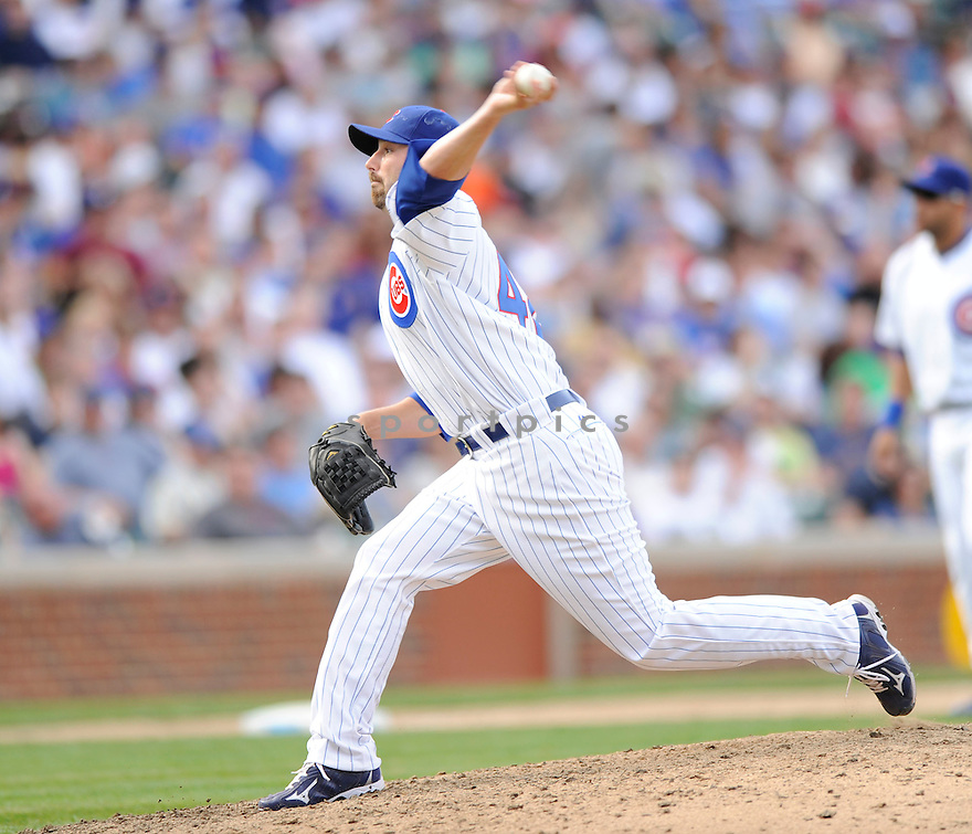 JOHN GRABOW, of the Chicago Cubs, in action during the Cubs game against the Milwaukee Brewers at Wrigley Field in Chicago, Illinois  on April 15, 2010...The Brewer win 8-6