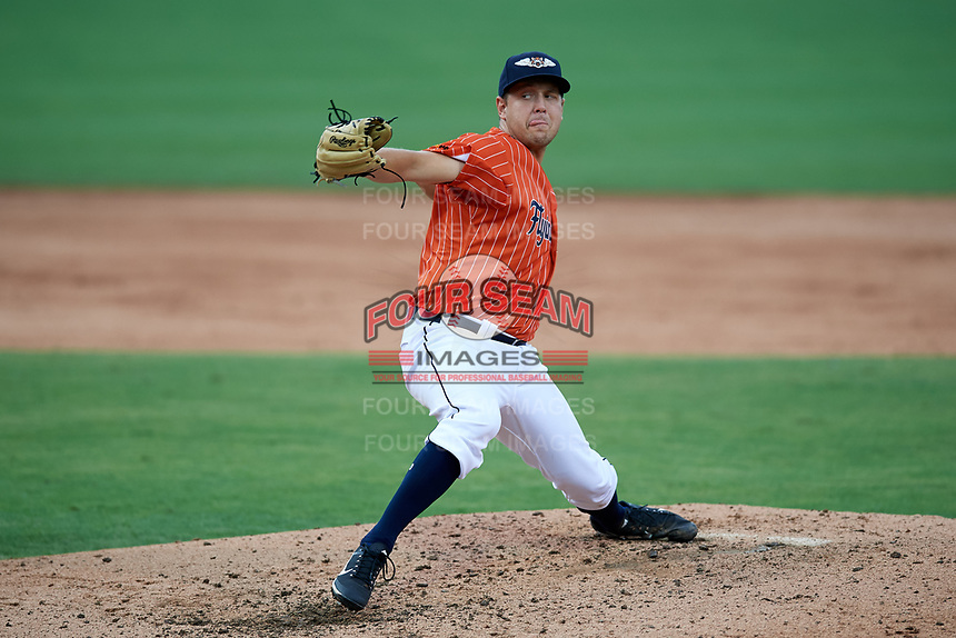 Lakeland Flying Tigers starting pitcher Matt Hall (27) delivers a pitch during the second game of a doubleheader against the St. Lucie Mets on June 10, 2017 at Joker Marchant Stadium in Lakeland, Florida.  Lakeland defeated St. Lucie 9-1.  (Mike Janes/Four Seam Images)