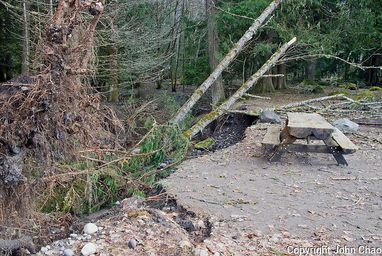Damage from 2006 Flood at Sunshine Point Campground Picnic area, Mount Rainier National Park, Washington State.