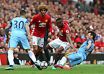 Luis Antonio Valencia of Manchester United fouled by David Silva of Manchester City during the Premier League match at Old Trafford Stadium, Manchester. Picture date: September 10th, 2016. Pic Simon Bellis/Sportimage