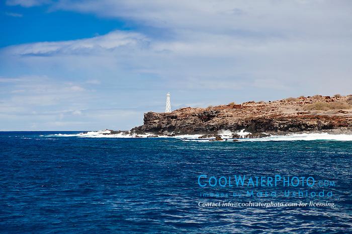 lighthouse at Palaoa Point aka Cape Kaea, near Kaunolu, South Lāna'i, Lāna'i aka Pineapple Island because of its past as an island-wide pineapple plantation of Dole, the sixth-largest island of the Hawaiian Islands, Hawaii, USA, Pacific Ocean