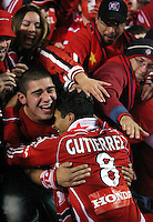 Chicago Fire midfielder Diego Gutierrez celebrates the Chicago Fire's victory with the Chicago fans.  The Chicago Fire defeated the Los Angeles Galaxy 3-1 in the championship game of the U.S. Open Cup at Toyota Park in Bridgeview, IL on September 27, 2006...