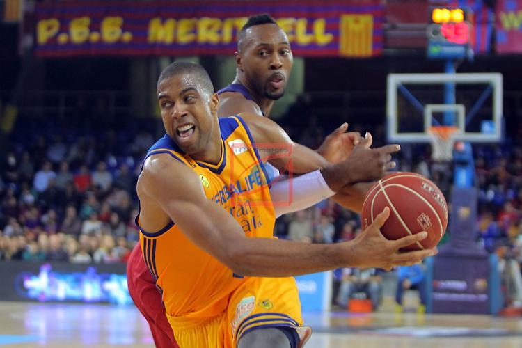 League ACB-ENDESA 2016/2017. Game: 11.<br /> FC Barcelona Lassa vs Herbalife Gran Canaria: 79-78.<br /> Richard Hendrix vs Joey Dorsey.