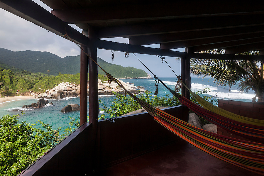Hammock rental cabin at Cabo San Juan in Tayrona National Park  near Santa Marta, Colombia.  The park is one of the most popular tourist destinations on Colombia's Caribbean coast.