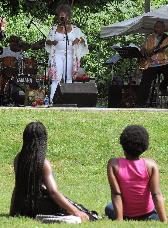Audience listening to the Stephanie Hancock Group, at the Annual Jazz in the Valley Festival,  in Waryas Park in Poughkeepsie, NY, on Sunday, August 21, 2016. Photo by Jim Peppler. Copyright Jim Peppler 2016 all rights reserved.