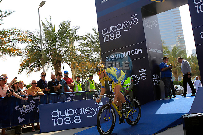 Michael Valgren Huffman (DEN) Tinkoff-Saxo powers off the start ramp for Stage 1, individual time trial over 9.9km, of the inaugural Dubai Tour 2014 held in downtown Dubai, Dubai. 5th February 2014.<br /> Picture: Eoin Clarke www.newsfile.ie