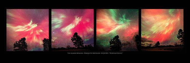 "Aurora Borealis over Marquette Michigan, 10/24/2011- ""Heavenly Lights"" Northern Lights aurora borealis panorama, panoramic Upper Peninsula of Michigan"