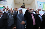 Members of the Palestine Scholars Association and the Ministry of Awqaf take part in a protest to show solidarity with the Al Aqsa Mosque and Palestinian prisoners held in Israeli jails in Gaza City on March 21, 2019. Photo by Mahmoud Ajjour