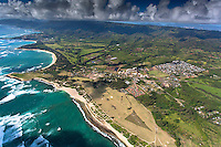 A helicopter tour offers an aerial view of Kahuku, North O'ahu.
