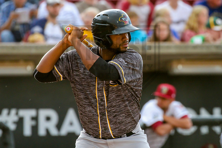 Quad Cities River Bandits designated hitter Chuckie Robinson (20) during a Midwest League game against the Wisconsin Timber Rattlers on June 8, 2017 at Fox Cities Stadium in Appleton, Wisconsin.  Wisconsin defeated Quad Cities 8-3. (Brad Krause/Krause Sports Photography)