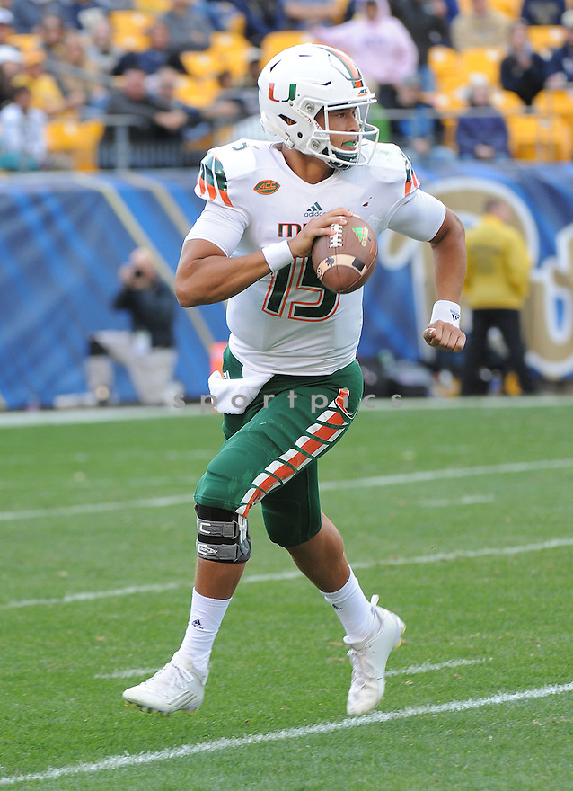 Miami Hurricanes Brad Kaaya (15) during a game against the Pittsburgh Panthers on November 27, 2015 at Heinz Field in Pittsburgh, PA. Miami beat Pittsburgh 29-24.