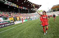 Portland, Oregon - Sunday September 4, 2016: Portland Thorns FC forward Nadia Nadim (9) waves to the crowd after the win during a regular season National Women's Soccer League (NWSL) match at Providence Park.