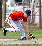 WATERBURY,  CT-041319JS13- Watertown's Cameron Guerrera (5) scoops up a ground ball during their game with Sacred Heart Saturday at Waterville Park in Waterbury. <br /> Jim Shannon Republican American