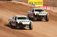 Mar. 18, 2011; Chandler, AZ, USA;  LOORRS pro 2 unlimited driver Craig Potts (left) and teammate Jesse James during qualifying for round one at Firebird International Raceway. Mandatory Credit: Mark J. Rebilas-