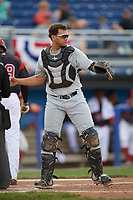 West Virginia Black Bears catcher Yoel Gonzalez (52) throws the ball back to the pitcher during a game against the Batavia Muckdogs on June 25, 2017 at Dwyer Stadium in Batavia, New York.  West Virginia defeated Batavia 6-4 in the completion of the game started on June 24th.  (Mike Janes/Four Seam Images)