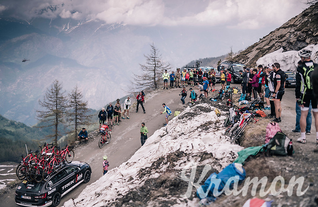 Gianluca Brambilla (ITA/Trek-Segafredo) up the gravel roads of the Colle delle Finestre <br /> <br /> stage 19: Venaria Reale - Bardonecchia (184km)<br /> 101th Giro d'Italia 2018