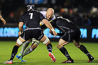 Matt Garvey of Bath Rugby takes on the Newcastle Falcons defence. Aviva Premiership match, between Newcastle Falcons and Bath Rugby on January 6, 2017 at Kingston Park in Newcastle upon Tyne, England. Photo by: Patrick Khachfe / Onside Images