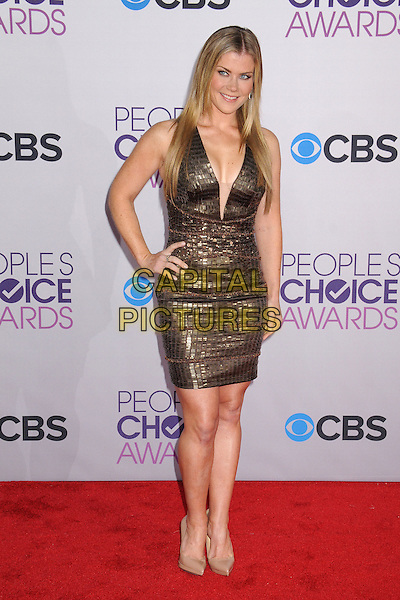 Alison Sweeney.People's Choice Awards 2013 - Arrivals held at Nokia Theatre L.A. Live, Los Angeles, California, USA..January 9th, 2013.full length dress gold plunging neckline beige shoes hand on hip sleeveless cleavage .CAP/ADM/BP.©Byron Purvis/AdMedia/Capital Pictures.