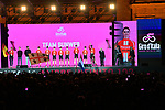 Team Sunweb on stage at the Teams Presentation held in Piazza Maggiore Bologna before the start of the 2019 Giro d'Italia, Bologna, Italy. 9th May 2019.<br /> Picture: Massimo Paolone/LaPresse | Cyclefile<br /> <br /> All photos usage must carry mandatory copyright credit (&copy; Cyclefile | Massimo Paolone/LaPresse)