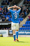 St Johnstone v Aberdeen...23.08.14  SPFL<br /> Steven MacLean holds his head after hitting the post<br /> Picture by Graeme Hart.<br /> Copyright Perthshire Picture Agency<br /> Tel: 01738 623350  Mobile: 07990 594431
