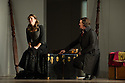 London, UK. 14.10.2014. English National Opera presents THE MARRIAGE OF FIGARO, directed by Fiona Shaw, at the London Coliseum. Picture shows:  Mary Bevan (Susanna) and Benedict Nelson (Count Almaviva). Photograph © Jane Hobson.