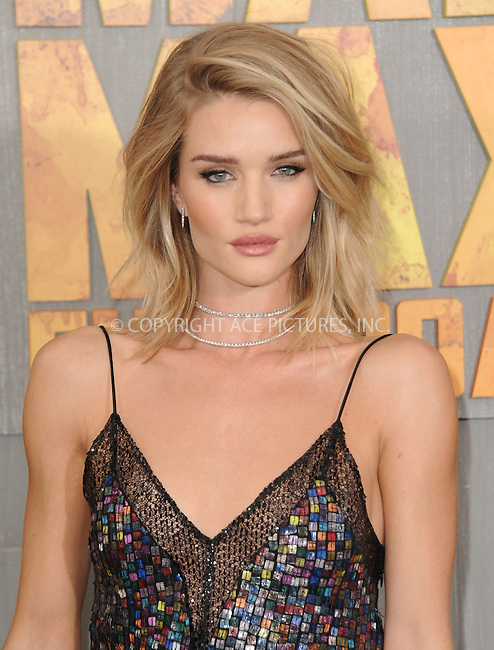 WWW.ACEPIXS.COM<br /> <br /> May 7 2015, LA<br /> <br /> Actress Rosie Huntington-Whiteley arriving at the premiere  'Mad Max: Fury Road' at the TCL Chinese Theatre on May 7, 2015 in Hollywood, California. <br /> <br /> By Line: Peter West/ACE Pictures<br /> <br /> <br /> ACE Pictures, Inc.<br /> tel: 646 769 0430<br /> Email: info@acepixs.com<br /> www.acepixs.com