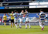 18th July 2020; The Kiyan Prince Foundation Stadium, London, England; English Championship Football, Queen Park Rangers versus Millwall; Todd Kane of Queens Park Rangers celebrates after scoring his sides 4th goal in the 73rd minute to make it 4-2 with Dominic Ball of Queens Park Rangers