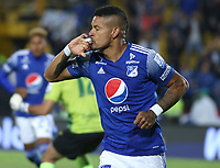 BOGOTÁ - COLOMBIA, 15-02-2020:Ayron Del Valle  de Millonarios celebra después de anotar un gol al Boyacá Chico durante partido entre Millonarios y Boyacá Chicó por la fecha 5 de la Liga BetPlay I 2020 jugado en el estadio Nemesio Camacho  El Campín de la ciudad de Bogotá. / Ayron Del Valle of Millonarios celebrates after scoring a goal agaisnt of Boyaca Chico during match between Millonarios and Boyaca for the date  as part of BetPlay League I 2020 played at Nemesio Camacho El Campin stadium in Bogota. Photo: VizzorImage /Daniel Garzón / Contribuidor