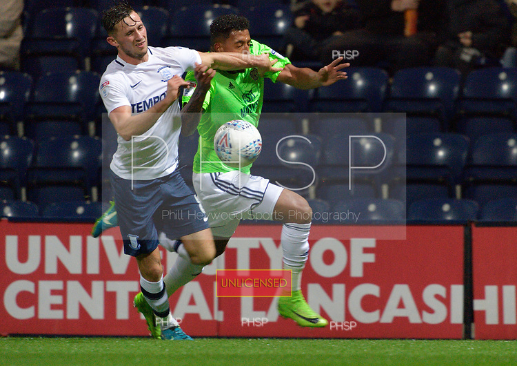 12/09/2017 Sky Bet League Championship Preston North End v Cardiff City<br /> <br /> Nathaniel Mendez-Laing challenged by Alan Browne