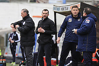 Luton Town manager Nathan Jones gives out his orders during the Sky Bet League 2 match between Plymouth Argyle and Luton Town at Home Park, Plymouth, England on 19 March 2016. Photo by Liam Smith.