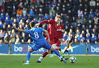 20191023 - Genk: Genk's Elias Sierra (8) and Liverpool's Sepp Van Den Bergh and Liverpool's Player(s) are battling for the ball during the UEFA Youth League group stages match between KRC Genk Youth and Liverpool FC on October 23, 2019 at KRC Genk Stadium Arena B, Genk, Belgium. PHOTO:  SPORTPIX.BE   SEVIL OKTEM