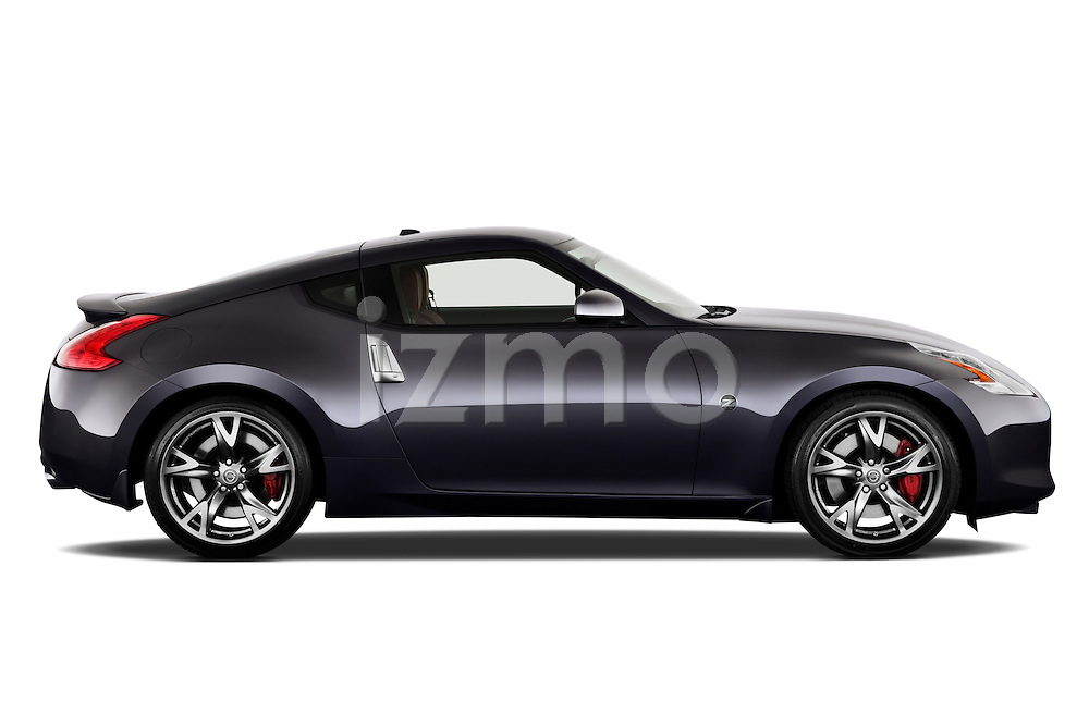 Passenger side profile view of a 2010 Nissan 370z 40th Coupe.