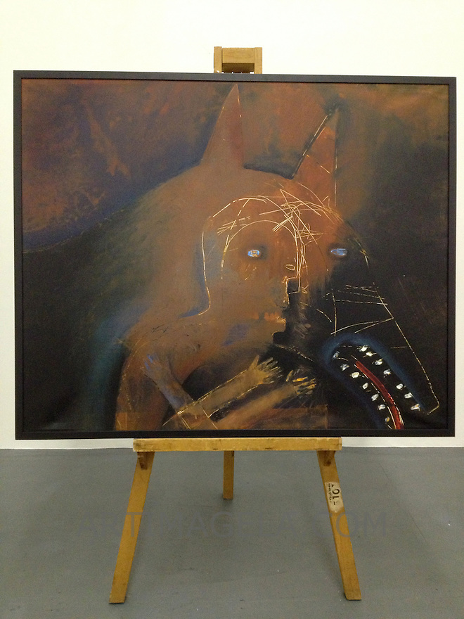 "Dog With Man's Head, 56 3/4"" x 46 3/4"" x 2 1/2"", Digital Print on Canvas, Stretched with Black Frame, Matte Finish"