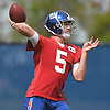 Davis Webb #5, New York Giants quarterback, throws a pass during the first day of team Rookie Camp at Quest Diagnostics Training Center in East Rutherford, NJ on Friday, May 12, 2017.
