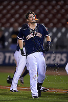 Connecticut Tigers first baseman Will Allen (46) after getting the water dumped over him after a walk off base hit during the second game of a doubleheader against the Brooklyn Cyclones on September 2, 2015 at Senator Thomas J. Dodd Memorial Stadium in Norwich, Connecticut.  Connecticut defeated Brooklyn 2-1.  (Mike Janes/Four Seam Images)