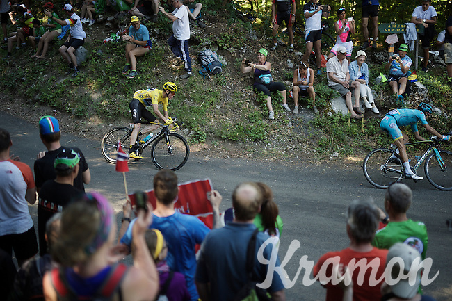 Chris Froome (GBR/SKY) descending the Grand Colombier<br /> <br /> stage 15: Bourg-en-Bresse to Culoz (160km)<br /> 103rd Tour de France 2016