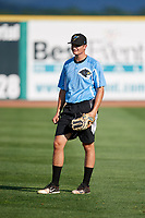 West Virginia Black Bears pitcher Alec Rennard (64) warms up before a game against the State College Spikes on August 30, 2018 at Medlar Field at Lubrano Park in State College, Pennsylvania.  West Virginia defeated State College 5-3.  (Mike Janes/Four Seam Images)