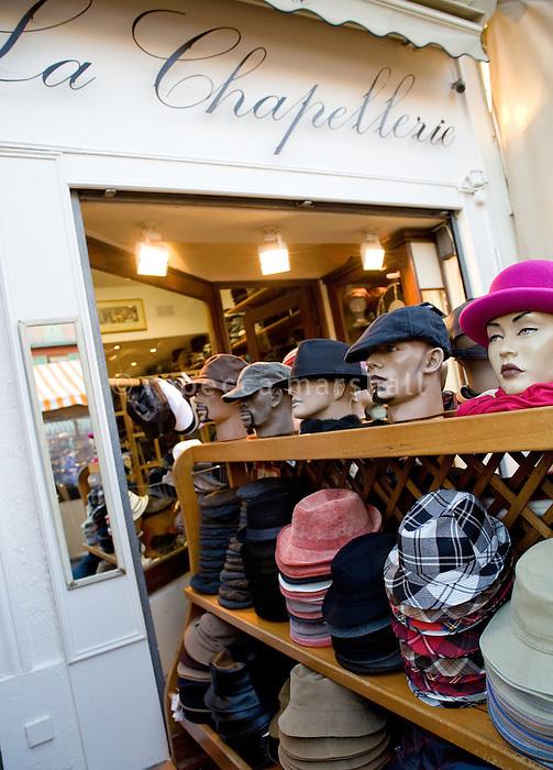 Hat shop 'La Chapellerie', Cours Saleya, Nice, France, 8 March 2009