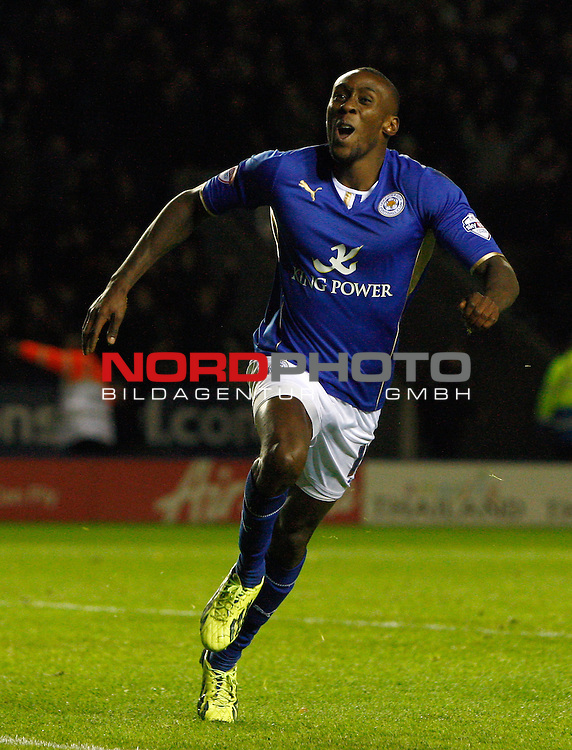 Leicester City's Lloyd Dyer celebrates the winning goal -  29/10/2013 - SPORT - FOOTBALL - King Power Stadium - Leicester City - Leicester City v Fulham - Capital One Cup - Forth Round<br /> Foto nph / Meredith<br /> <br /> ***** OUT OF UK *****