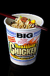 Brazilian Chicken flavored instant ramen by Nissin is displayed for a photograph in Tokyo, Japan on 12 November 2008. ..