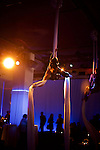 New York, NY - December 17, 2015: Aerialists performing above the dance floor at the Mediacom holiday party at E-Space on the West Side.<br /> <br /> CREDIT: Clay Williams for Mediacom.<br /> <br /> &copy; Clay Williams / claywilliamsphoto.com