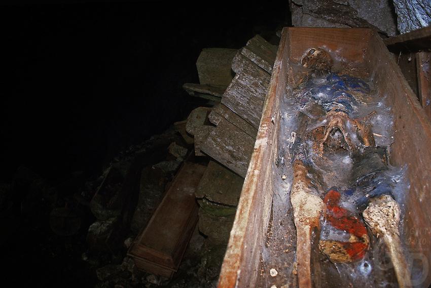 Sagada Coffins with skeleton, Mountain Province Philippines