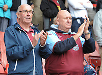 Burnley fans applaud their team at the final whistle <br /> <br /> Photographer Kevin Barnes/CameraSport<br /> <br /> The Premier League - Southampton v Burnley - Sunday August 12th 2018 - St Mary's Stadium - Southampton<br /> <br /> World Copyright &copy; 2018 CameraSport. All rights reserved. 43 Linden Ave. Countesthorpe. Leicester. England. LE8 5PG - Tel: +44 (0) 116 277 4147 - admin@camerasport.com - www.camerasport.com