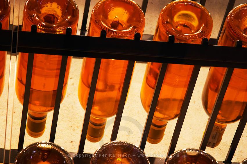 Chateau d'Yquem 1916 1917 1918 Lur Saluces, Sauternes, Bordeaux in a collection of all vintages of Bordeaux first growth bottles. Seen from below  Ulriksdal Ulriksdals Wärdshus Värdshus Wardshus Vardshus Restaurant, Stockholm, Sweden, Sverige, Europe