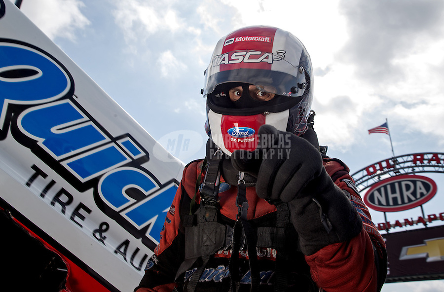 Sept. 1, 2013; Clermont, IN, USA: NHRA funny car driver Bob Tasca III during qualifying for the US Nationals at Lucas Oil Raceway. Mandatory Credit: Mark J. Rebilas-