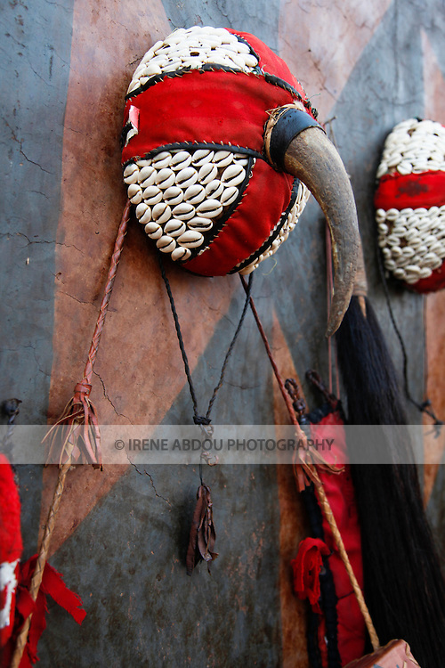 A tribal hat adorned with cowry shells is on display at the 12th biannual Salon International de l'Artisanat de Ouagadougou (SIAO).