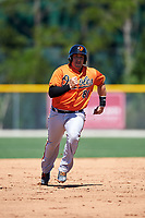 Baltimore Orioles catcher Chris O'Brien (81) runs the bases during a minor league Spring Training game against the Boston Red Sox on March 16, 2017 at the Buck O'Neil Baseball Complex in Sarasota, Florida.  (Mike Janes/Four Seam Images)