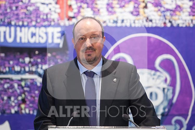 New Real Madrid coach Rafael Benitez during his official presentation at the Santiago Bernabeu stadium in Madrid, Spain. June 03, 2015. (ALTERPHOTOS/Victor Blanco)